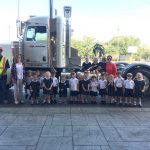 PreK 3 class at St. Dominic School today with a Peterbilt 600 horse